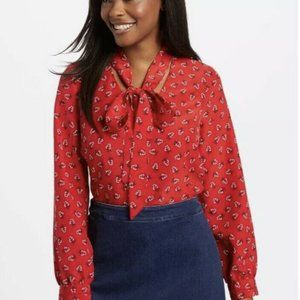 Draper James Tie Neck Floral Printed Blouse Red